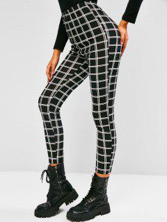 ZAFUL Grid High Rise Leggings - Black S