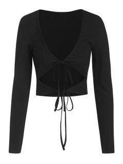 ZAFUL Ribbed Low Cut Long Sleeve Cutout Tee - Black S