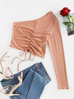 ZAFUL Ribbed Ruched Tie One Shoulder Baby Tee - Brown Sugar M