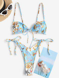 ZAFUL Baroque Flower Leopard Starfish Ribbed Cheeky String Bikini Swimwear - Light Blue L