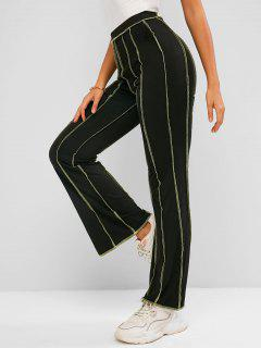 ZAFUL Topstitching High Waisted Bootcut Pants - Black Xl