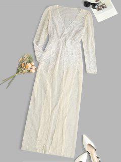 Robe En Maille Transparente à Fente Haute à Pois - Jaune Clair M