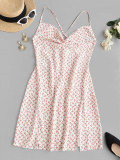 Ditsy Floral Slit Cowl Front Mini Dress - Light Pink S