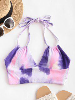 ZAFUL Halter Tie Dye Dual Straps Ribbed Bikini Top - Multi L