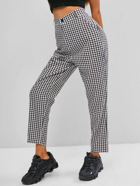 shops Slant Pockets Gingham Tapered Pants - BLACK S Mobile