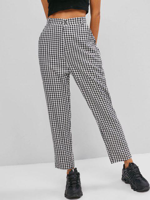affordable Slant Pockets Gingham Tapered Pants - BLACK L Mobile