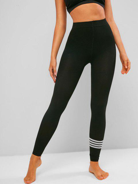 hot Striped Knit Ankle Length Stretchy Leggings - BLACK ONE SIZE Mobile