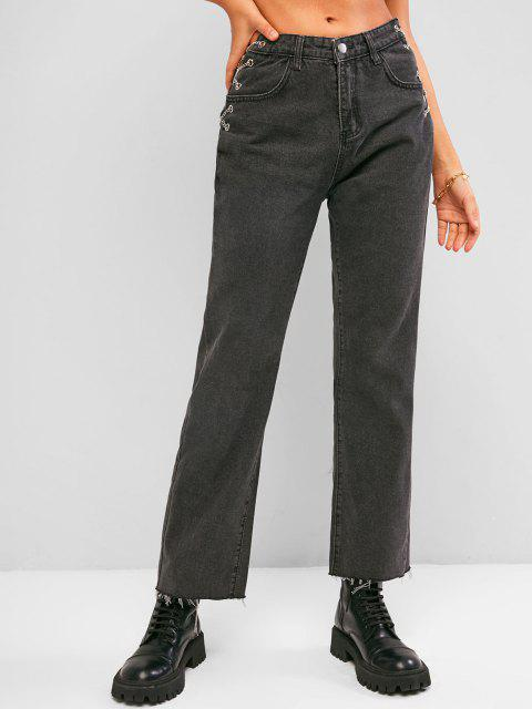outfits Chain Lace-up Raw Hem Baggy Jeans - BLACK L Mobile