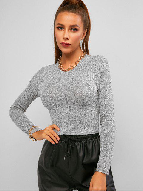womens ZAFUL Space Dye Rib Knit Crop Long Sleeve Tee - LIGHT GRAY S Mobile