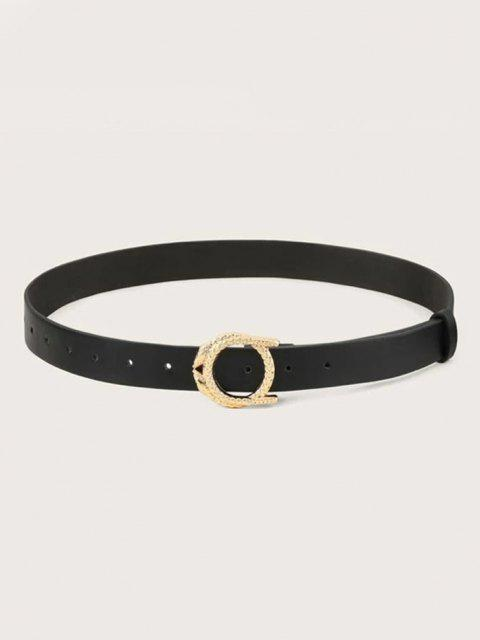 shop Round Carved Snake Buckle Belt - BLACK  Mobile