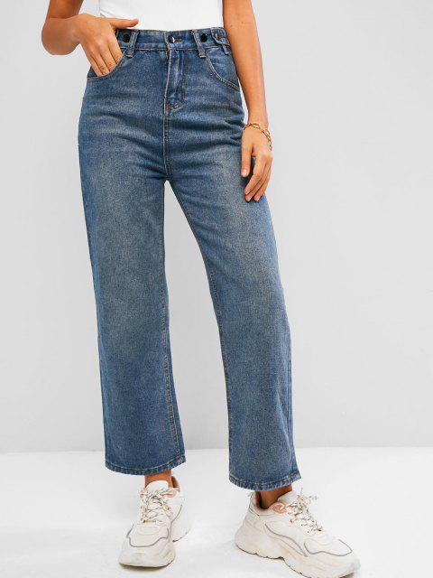 shop Pockets High Waisted Wide Leg Jeans - BLUE XL Mobile