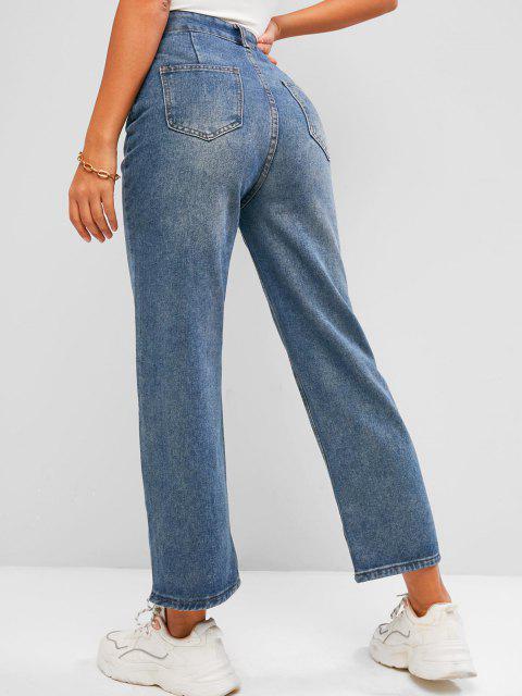 Jean Jambe Large à Taille Haute avec Poches - Bleu L Mobile