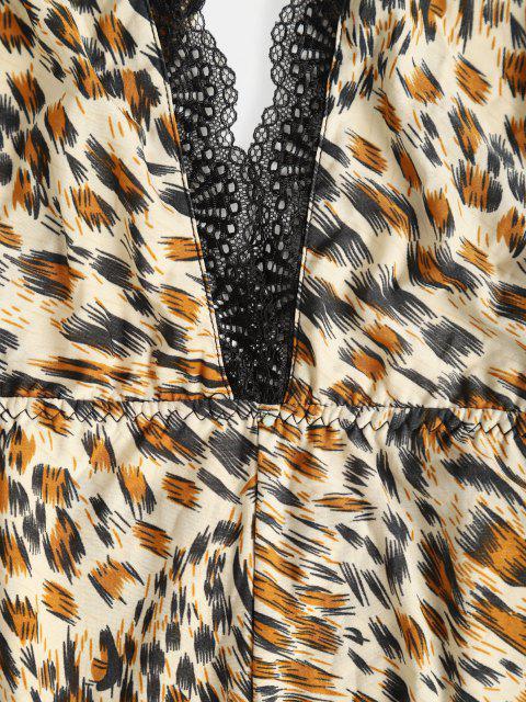 fancy Leopard Lace Trim Criss Cross Slip Teddy - MULTI ONE SIZE Mobile