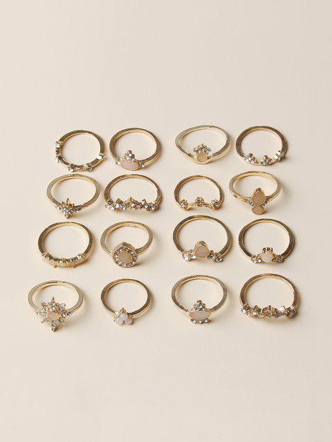 outfits 16Pcs Rhinestone Teardrop Alloy Rings Set - GOLDEN  Mobile