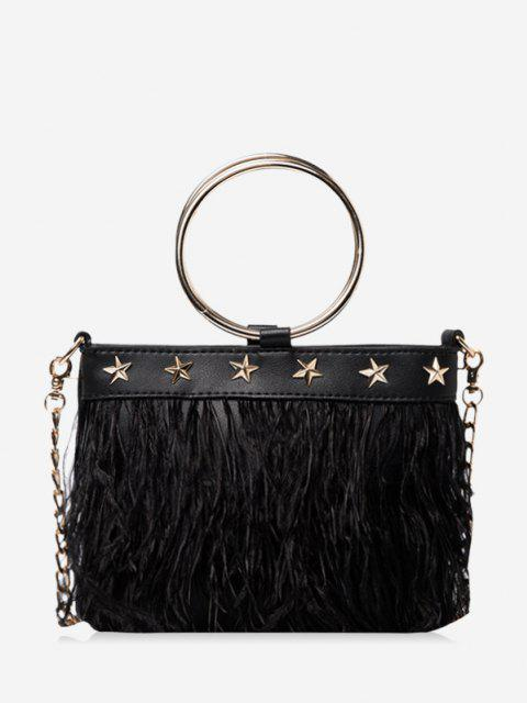 fancy Feather Fringe Star Chain Crossbody - BLACK  Mobile