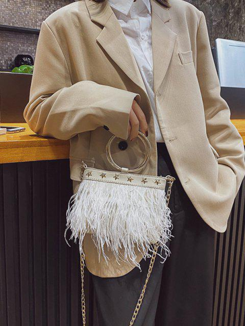 sale Feather Fringe Star Chain Crossbody - WHITE  Mobile