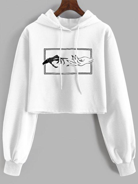 unique Skeleton Hand Drawstring Crop Hoodie - WHITE S Mobile