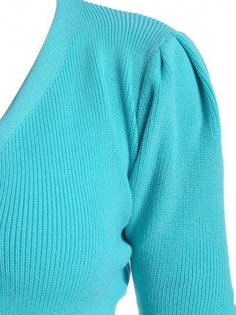 fashion Double Breasted Buttoned Cuff Knit Cardigan - BLUE ONE SIZE Mobile