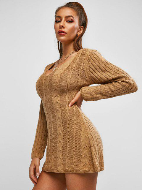 trendy ZAFUL Cable Knit Sweater Tunic Dress - COFFEE M Mobile