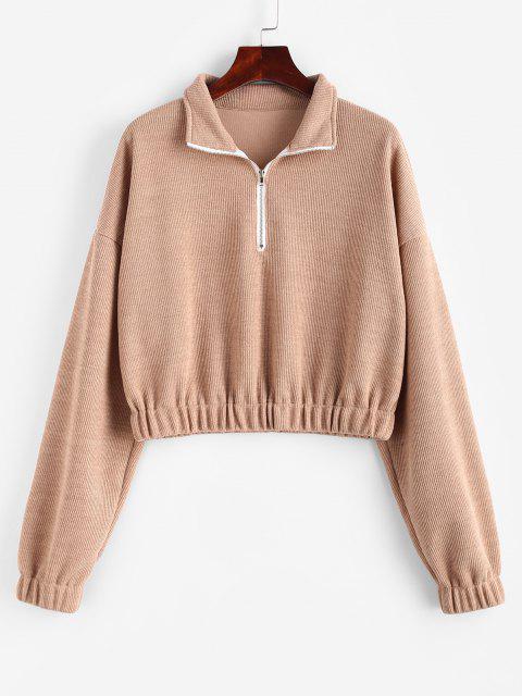 fancy Elasticated Trim Half Zip Knit Sweatshirt - LIGHT COFFEE M Mobile