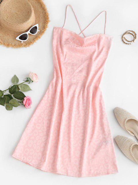 new Leopard Jacquard Lace Up Backless Cowl Front Dress - LIGHT PINK S Mobile