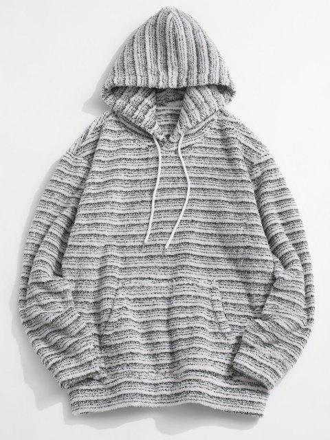 women's Kangaroo Pocket Striped Pattern Fluffy Hoodie - MULTI XL Mobile