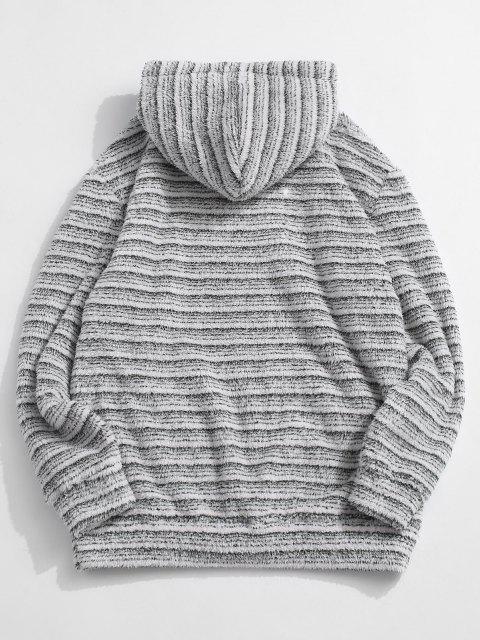 shops Kangaroo Pocket Striped Pattern Fluffy Hoodie - MULTI 2XL Mobile