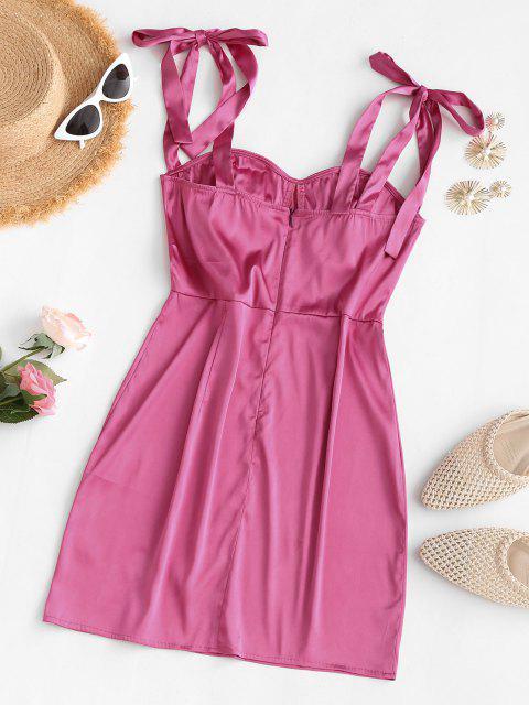 Mini Vestito di Seta con Spalline Annodate - Rosa chiaro M Mobile