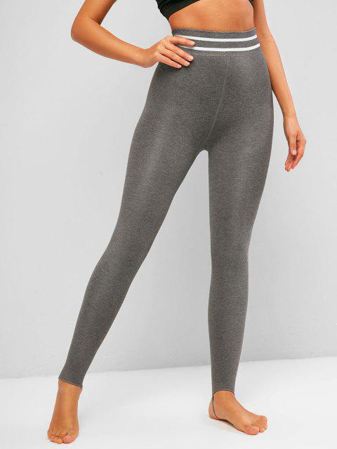 ladies Striped Detail Fleece Lined Jersey Stirrup Leggings - ASH GRAY ONE SIZE Mobile