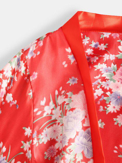 affordable Belted Flower Wrap Robe with Bralette Set - RED ONE SIZE Mobile