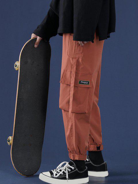 Buchstabe Applikation Mehrere Taschen Cargohose - Tiger Orange XL Mobile
