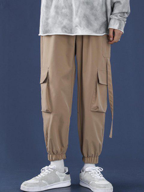 shop Letter Applique Multi Pockets Tapered Cargo Pants - APRICOT XL Mobile