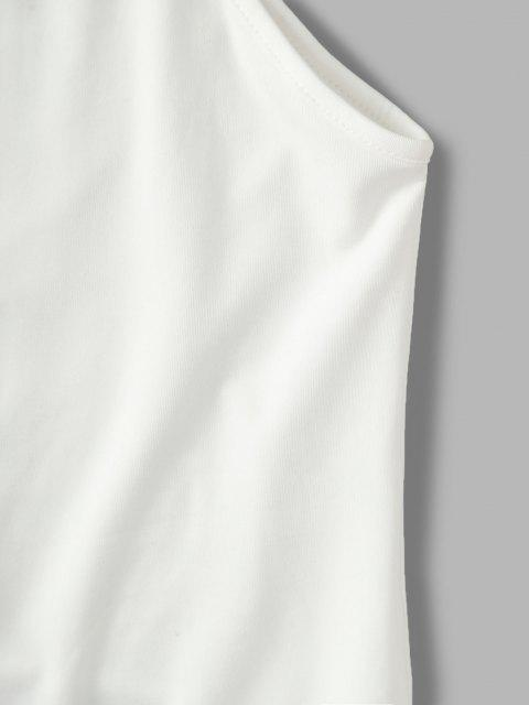 online Solid Asymmetrical Sleeve Cut Out Bodysuit - WHITE L Mobile