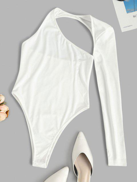womens Solid Asymmetrical Sleeve Cut Out Bodysuit - WHITE S Mobile