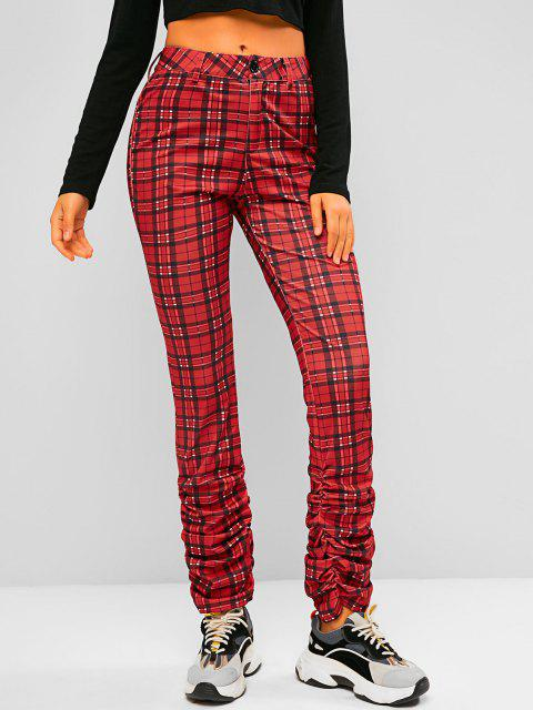 womens Plaid Pocket High Waisted Stacked Pants - RED M Mobile