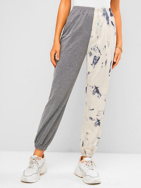 women ZAFUL Tie Dye Colorblock Jogger Sweatpants - GRAY S Mobile