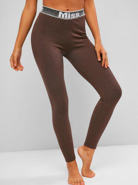 sale Fuzzy Graphic Waistband High Waisted Leggings - DEEP COFFEE S Mobile