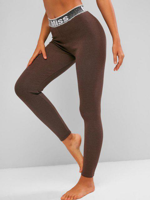 fashion Fuzzy Graphic Waistband High Waisted Leggings - DEEP COFFEE M Mobile