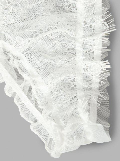 Wimpern Spitze Besatz Offener Rücken Schiere Maschen Dessous Kleid - Weiß Eine Größe Mobile