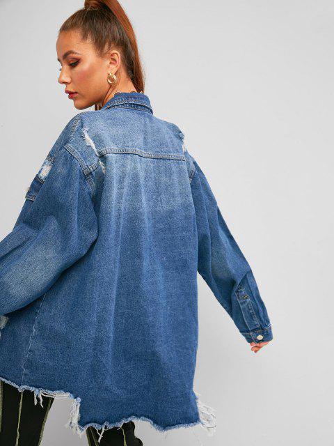buy Distressed Frayed Raw Cut Boyfriend Denim Coat - BLUE M Mobile