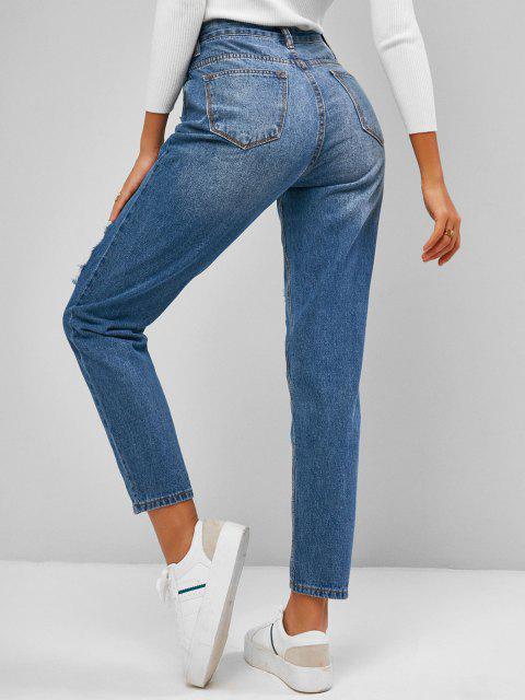 shops Ripped Cutout Pocket Boyfriend Jeans - BLUE L Mobile