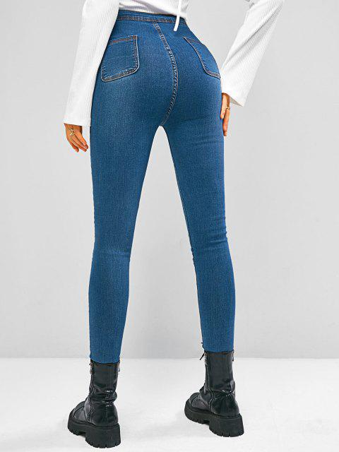 fancy High Waisted Zip Fly Skinny Jeans - BLUE M Mobile