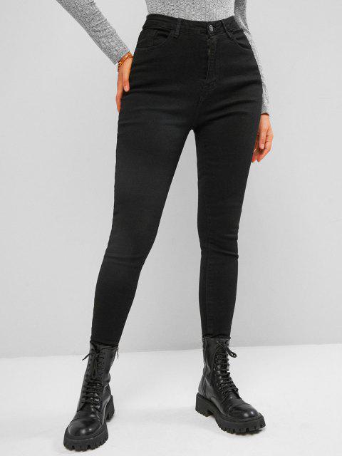 Jeans Oscuro Ajustado Cintura Alta - Negro S Mobile