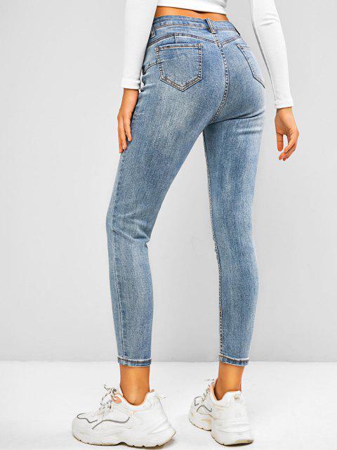Jeans Flacos con Cintura Media - Azul claro M Mobile