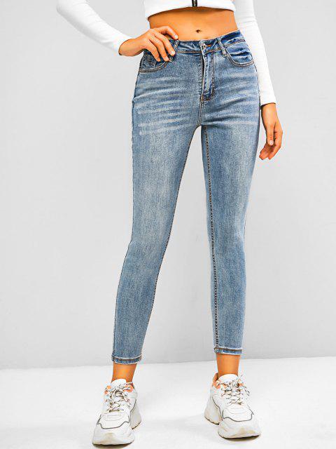 hot Mid Waisted Cat Whisker Skinny Jeans - LIGHT BLUE L Mobile