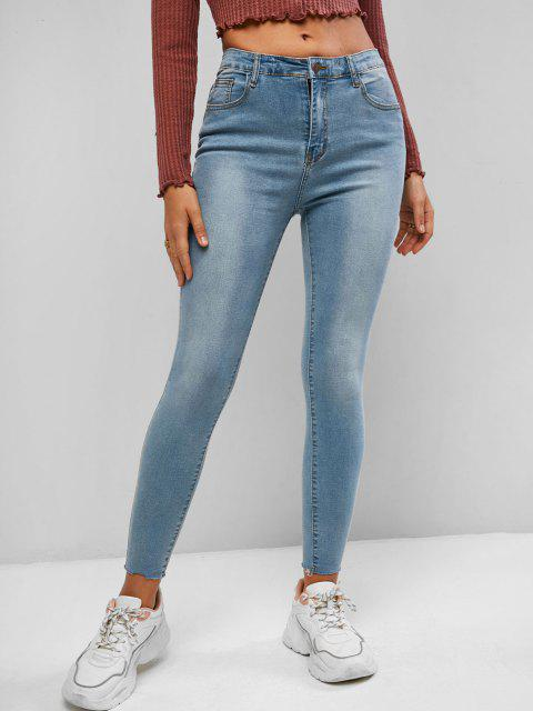 trendy Mid Waisted Raw Hem Skinny Jeans - LIGHT BLUE L Mobile