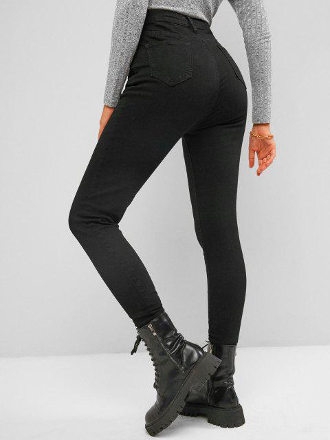 fashion High Waisted Dark Wash Skinny Jeans - BLACK L Mobile