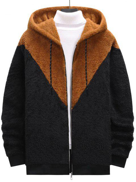 trendy Zip Up Contrast Fluffy Hoodie - BLACK XXL Mobile