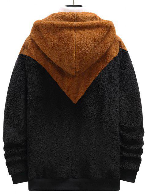 sale Zip Up Contrast Fluffy Hoodie - BLACK S Mobile