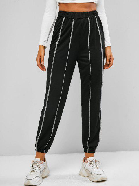 lady ZAFUL Contrast Topstitch Pull On Sweat Pants - BLACK S Mobile